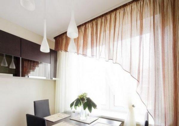 шторы модерн в интерьере кухни