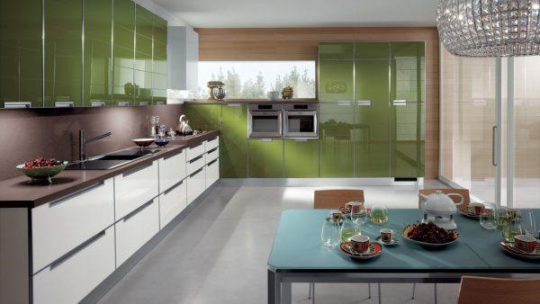 современная зелёная кухня
