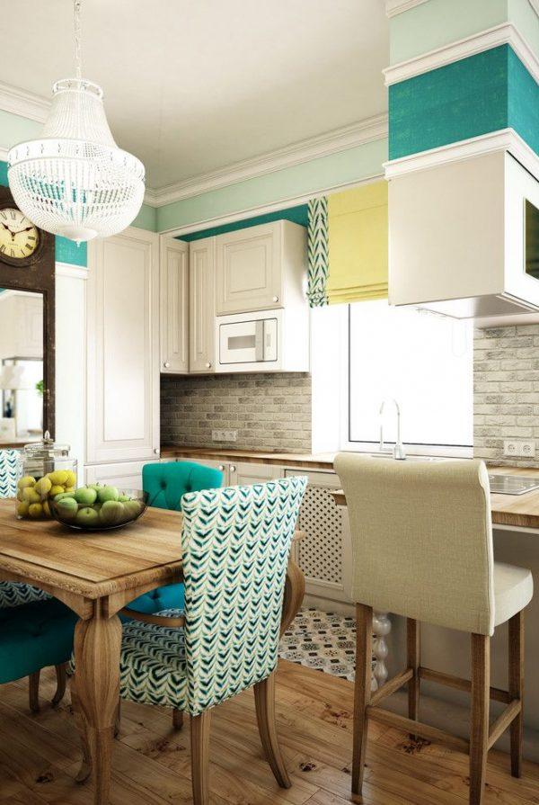 грушевидная люстра в интерьере современной кухни