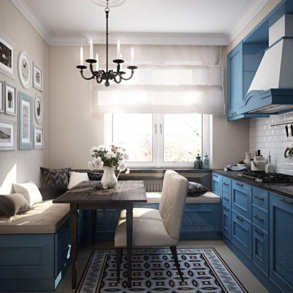 синий цвет в интерьере современной кухни