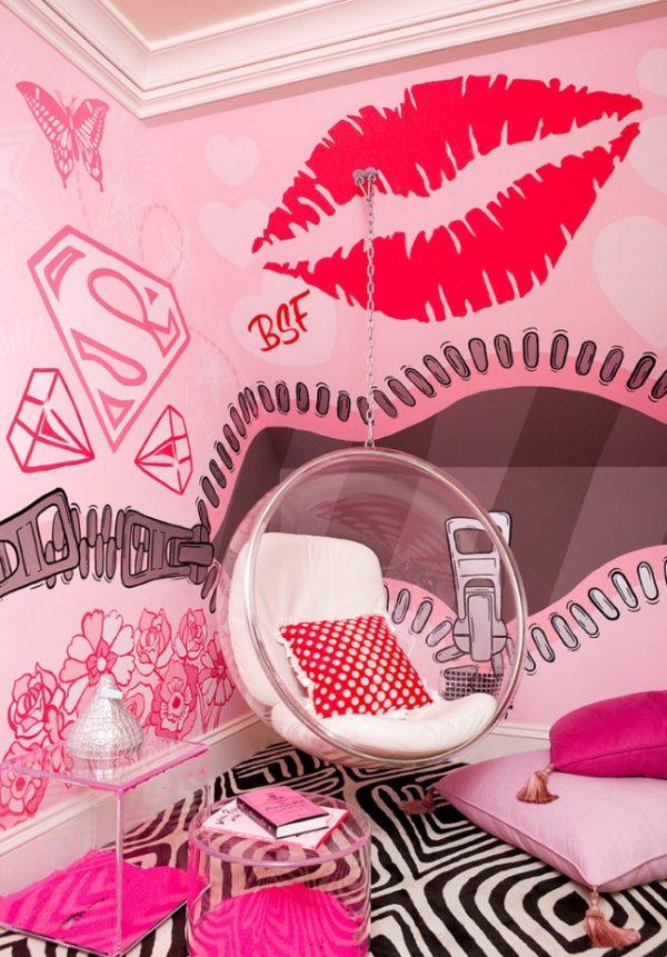 розовая бунтарская комната для девочки