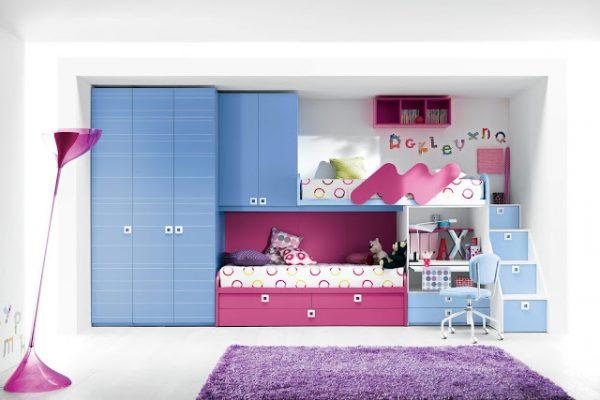фиолетовый и голубой в детской комнате для девочек