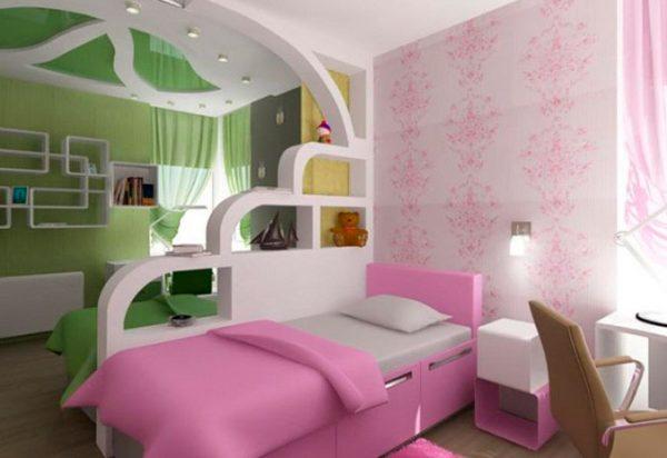 гипсокартонный потолок в комнате для девочек