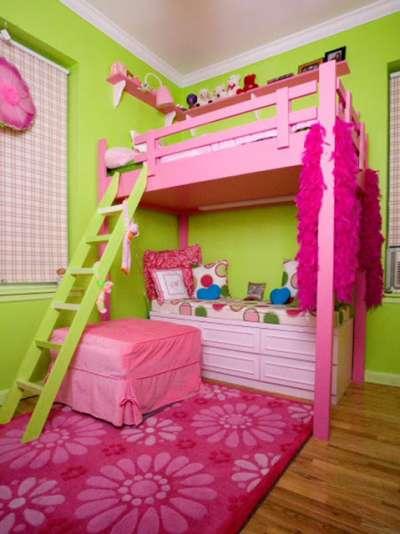 зелёный и розовый в интерьере детской комнаты для девочек