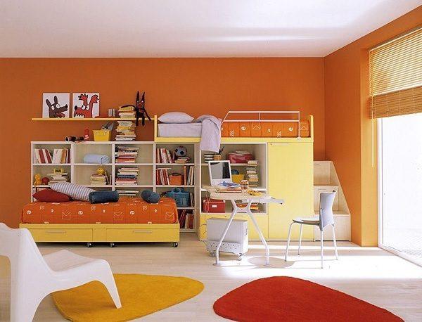 оранжевый в интерьере комнаты для девочек