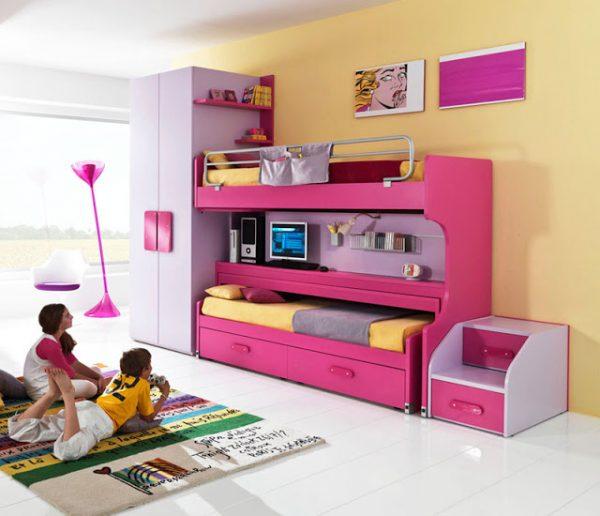 многофункциональная розовая кровать в детской