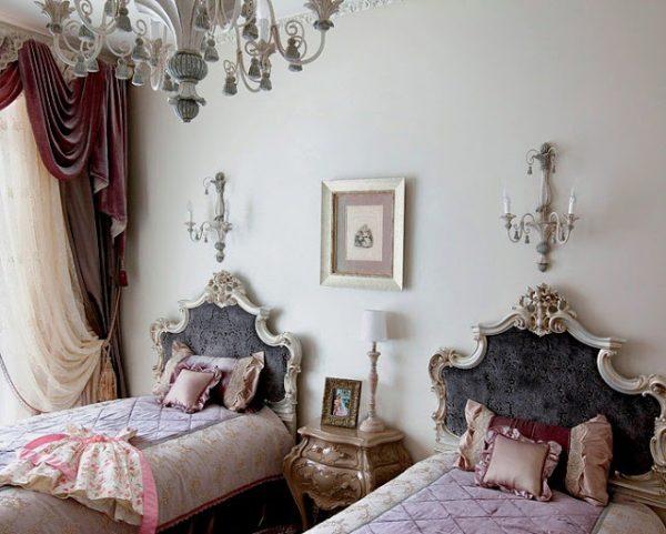интерьер комнаты для двух девочек в дворцовом стиле