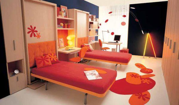 откидные кровати в интерьере детской для девочек