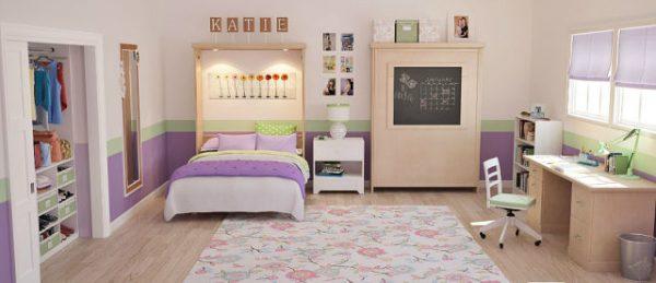 откидные кровати в интерьере комнаты для двух девочек