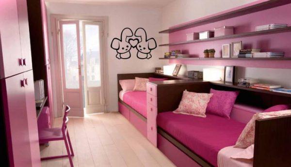 розовая детская комната для двух детей