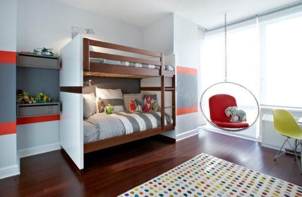 интерьер комнаты для двух девочек с двухъярусной кроватью