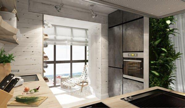 на балконе кухни лаунж зона