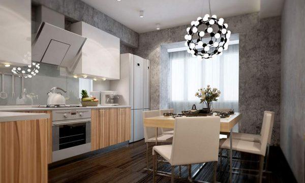 интерьер современной кухни с фактурной штукатуркой