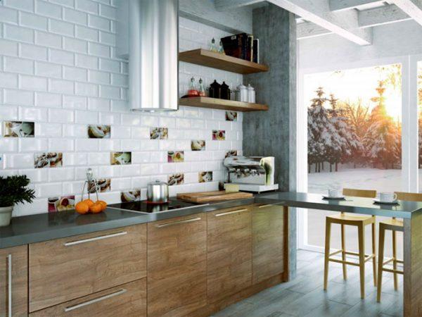 интерьер современной кухни с плиткой