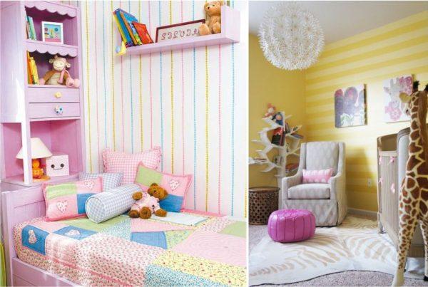 комната девочки подростка с полосатыми обоями