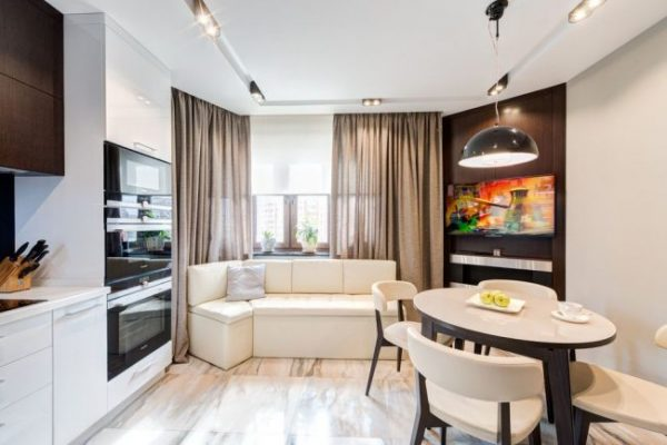 угловой диван на современной кухне