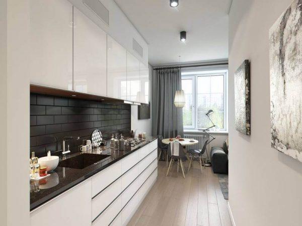белая линейная кухня в стиле минимализм