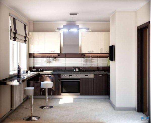 два цвета на прямолинейной кухне