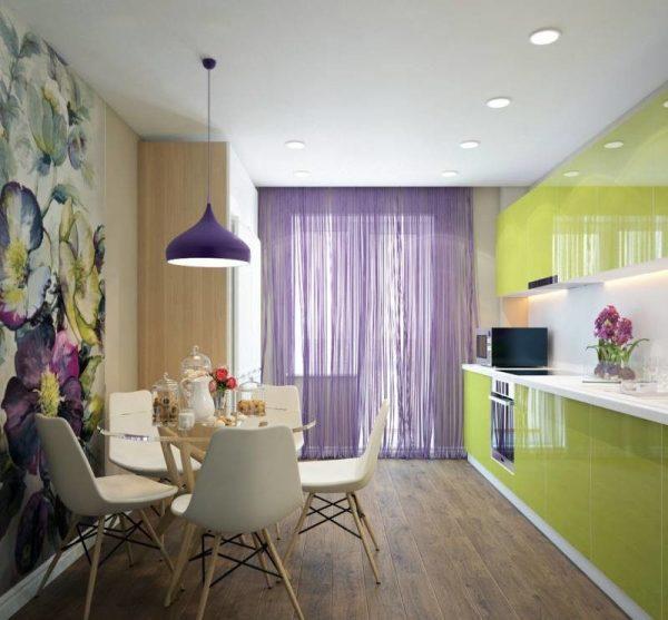 зелёная прямая кухня с глянцевыми фасадами