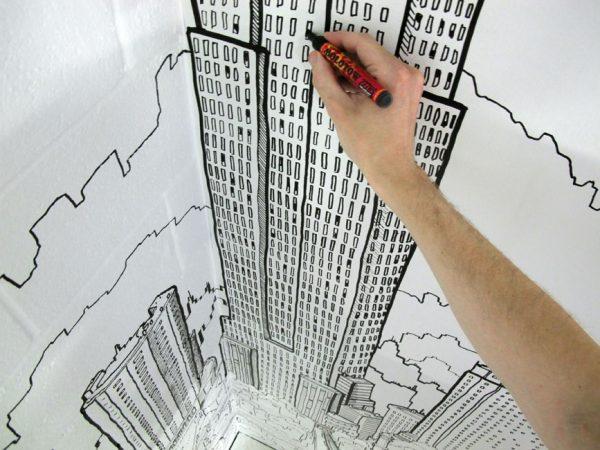 рисуем на стенах фломастером