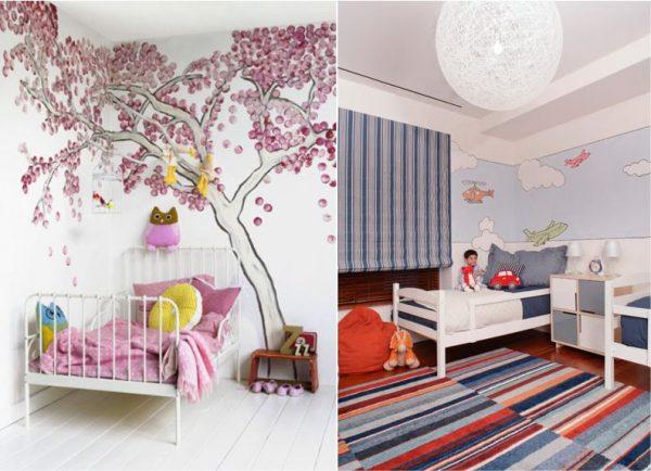 рисунки в спальне детской на стене