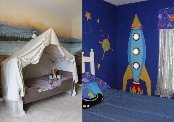 рисунки на стене в комнате мальчика