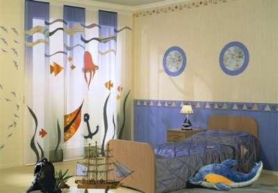 шторы в морском стиле в детской комнате