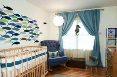 шторы однотонные для детской комнаты в морском стиле