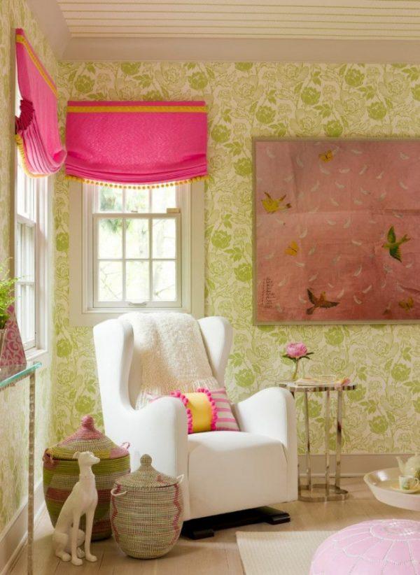 яркие розовые шторы для комнаты детей
