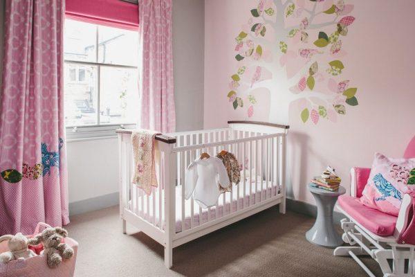 шторы розовые с узором для детской малыша