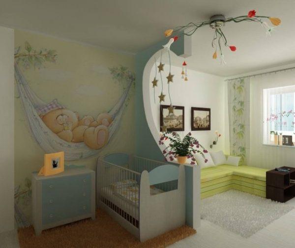 зонирование спальни с кроваткой гипсокартоной перегородкой