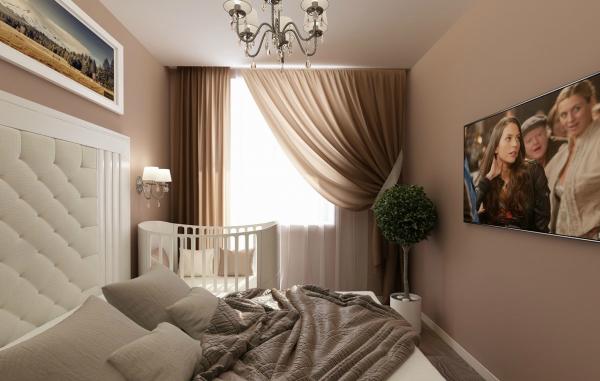 кроватка в спальне у окна