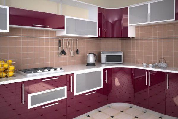 стеклянные фасады кухни угловой