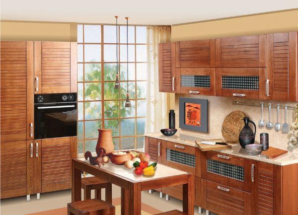 кухни с фасадами жалюзи под дерево