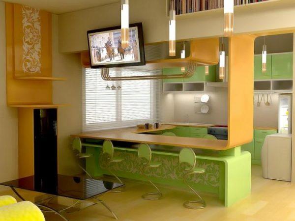 зелёный и жёлтый на кухне