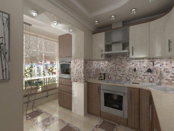 фасад мозаика кафель на угловой кухне