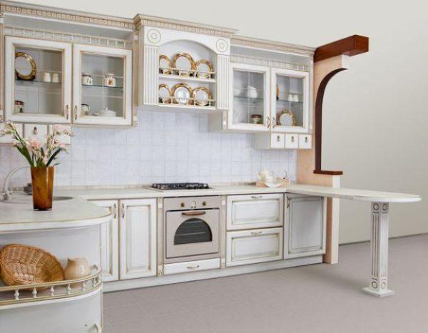 классический интерьер кухни с барной стойкой
