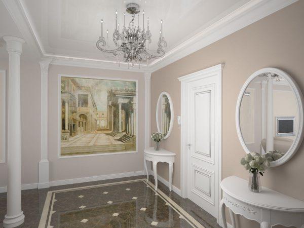 фотообои в интерьере коридора классика