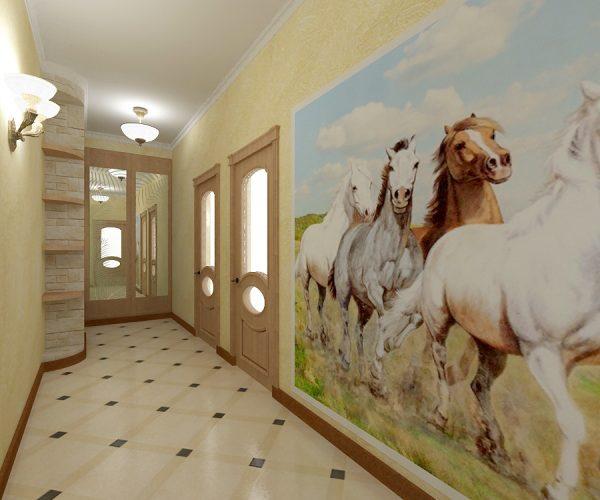 фотообои лошади в прихожей