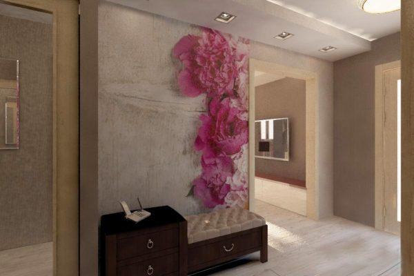фотообои в прихожей на всю стену из цветов