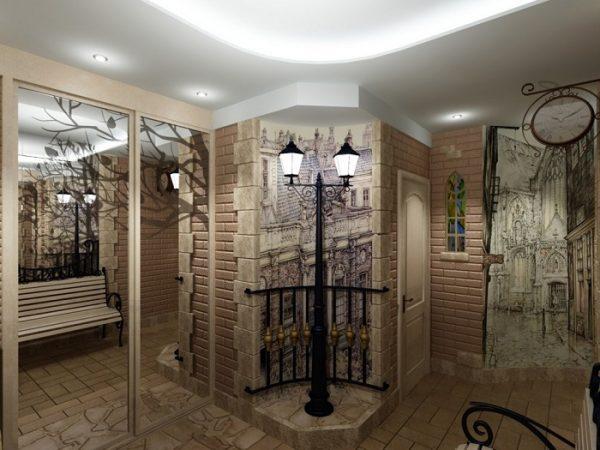 фотообои картинами на трёх стенах коридора