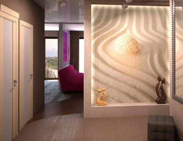песочный орнамент на фотообоях в коридоре