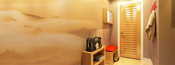 песочная картина на фотообоях в коридоре