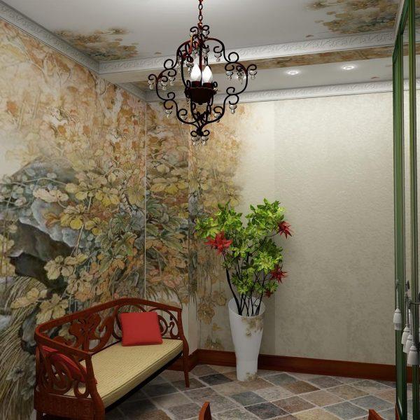 фотообои на стене дополненные рисунком на потолке