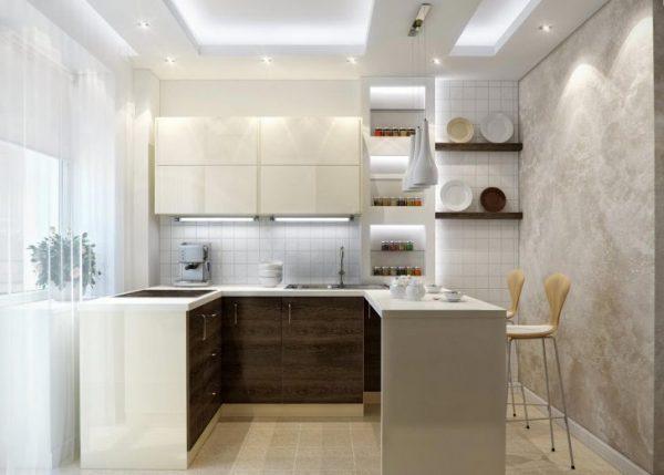 маленькая кухня с белым потолком из гипсокартона
