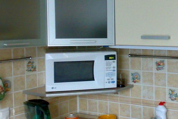 в углу кухни микроволновка