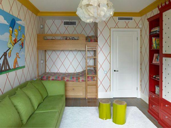 двухъярусная кровать зелёный диван