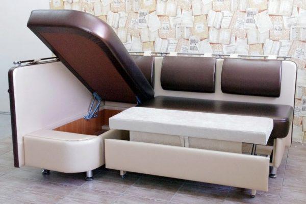 диван угловой формы с ящиками для хранения