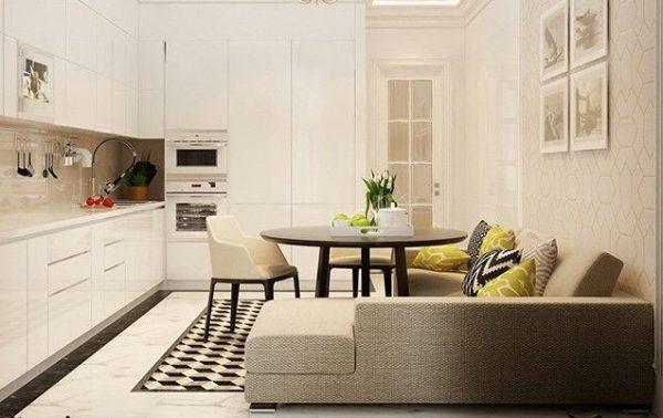 бежевая кухня с диваном