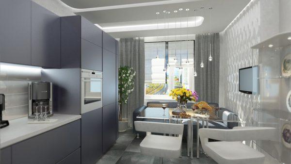 интерьер кухни хай тек с диваном